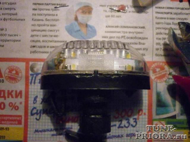 Замена лампочек подсветки номера на ладе приоре