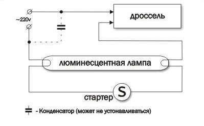 Схема подключения люминесцентной лампы